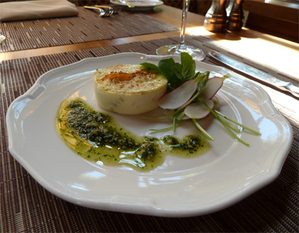 Dungeness Crab Flan with Pumpkin Seed Pesto