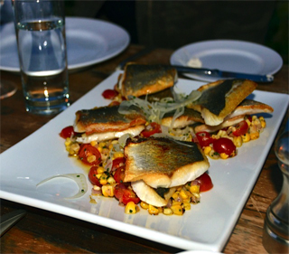 Bronzini with Cherry Tomato and Corn Relish