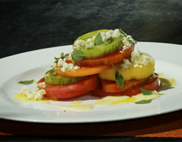 Heirloom Tomato & Watermelon Salad Olive Oil Marinated French Feta, Fino Verde Basil and Yellow Tomato Vinaigrette
